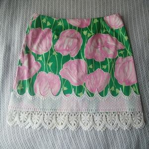 Lilly Pulitzer Lace Fringe Pink Green Tulip Skirt